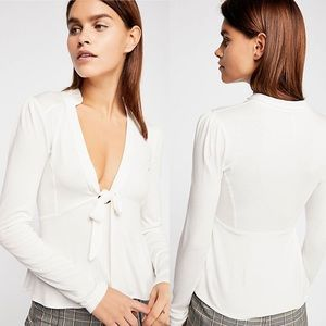 FREE PEOPLE. Lois. Ivory. Tie front. Long sleeve.
